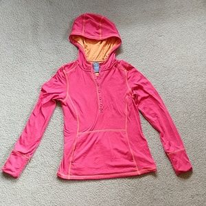 REI base layer hoodie bright red and orange w xs